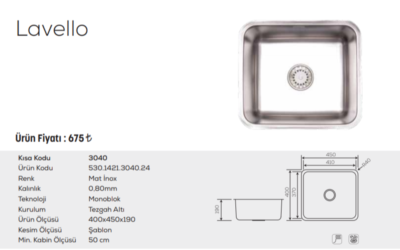 Lavello-3040-Mat-İnox