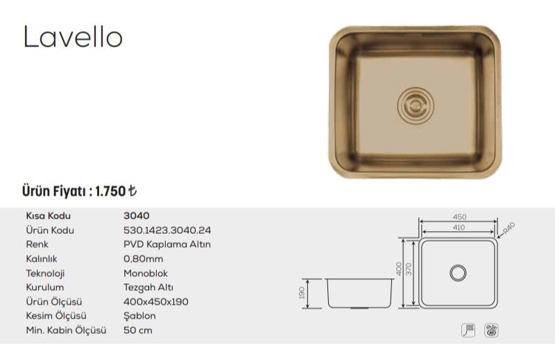 Lavello-3040-Pvd-Kaplama-Altın