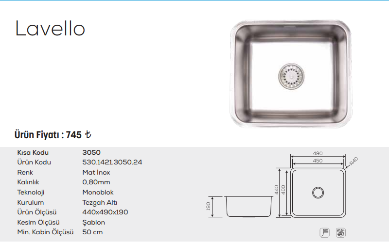 Lavello-3050-Mat-İnox