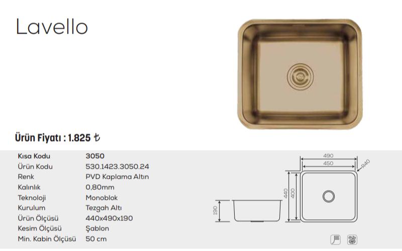 Lavello-3050-Pvd-Kaplama-Altın