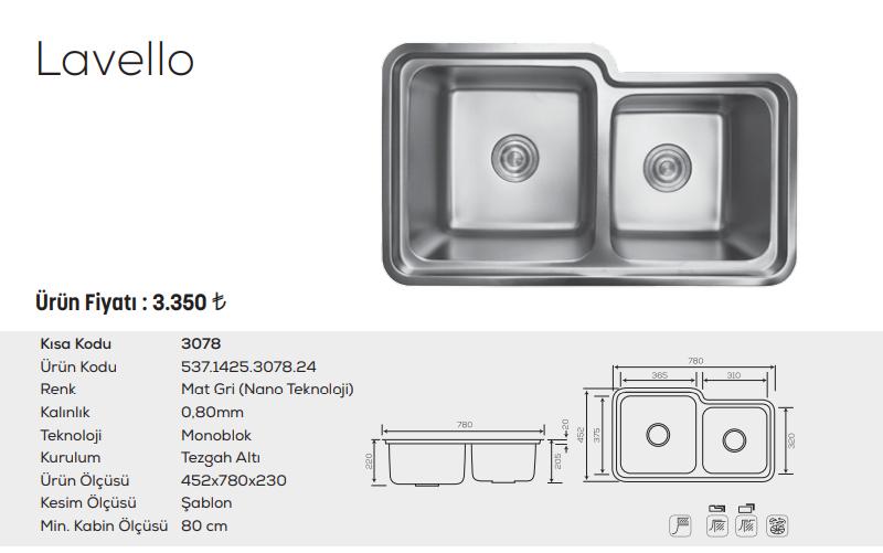 Lavello-3078-Mat-Gri-Nano-Teknoloji