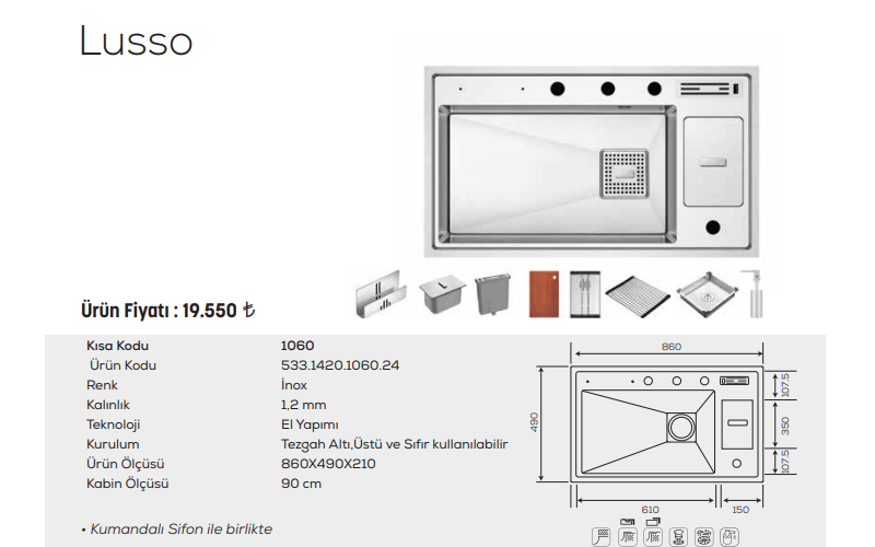 Lusso-1060-İnox