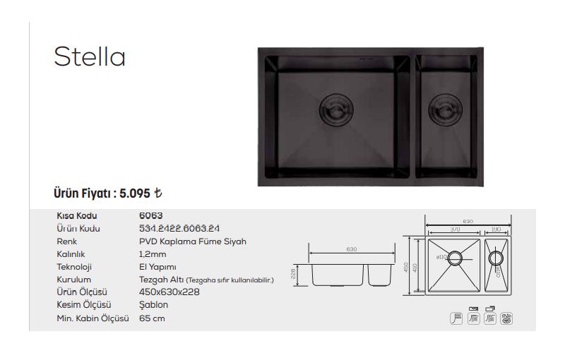 Stella-6063-Pvd-Kaplama-Füme-Siyah