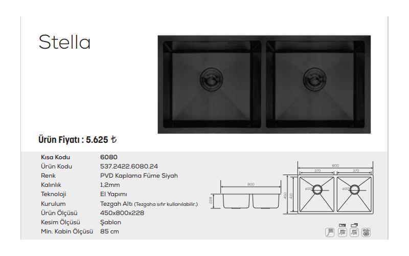 Stella-6080-Pvd-Kaplama-Füme-Siyah